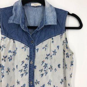 Mine sleeveless sheer blouse floral denim small